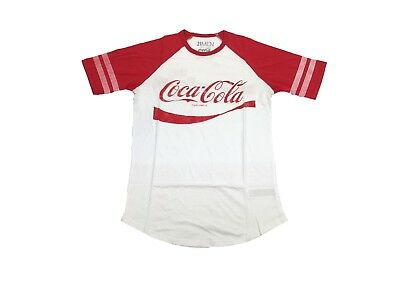 Coke Coca-Cola The Real Thing Vintage Drink Striped Sleeve Men's Scoop T Shirt