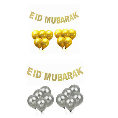 Eid Mubarak Banner Glitter And EID Balloon Festival Bunting Muslim Decoration EA