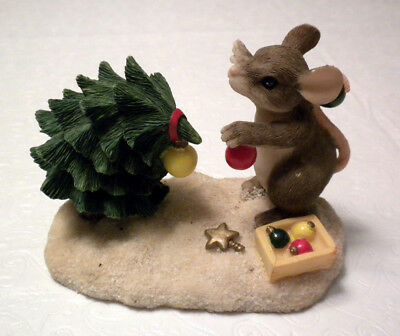Charming Tails Please Just More Mouse Christmas Tree Holiday Ceramic Figurine