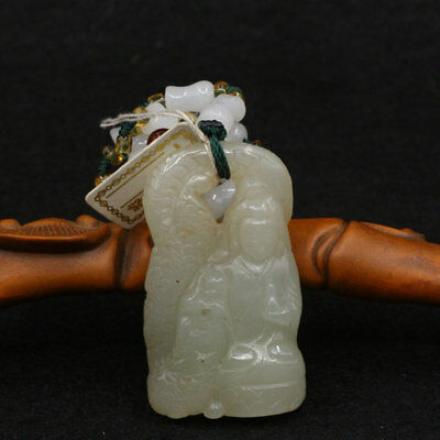 Chinese Exquisite Hand-carved Guanyin Dragon Carving Hetian jade Pendant