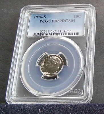 Roosevelt ten cent Dime 1970 S 10C PCGS PR69DCAM very hard year in deep cameo
