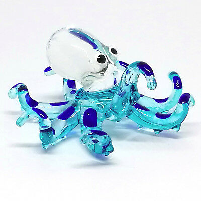 BLUE Glass Miniature Blue Octopus Figurine Hand Blown Aquarium Decor Sculpture