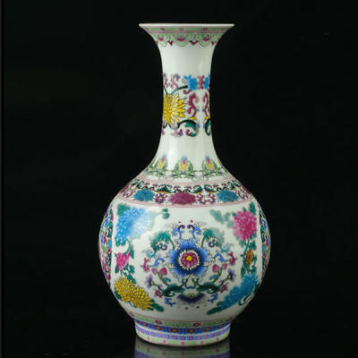 China Porcelain   Painted Flower Pattern Vase Mark As The Qianlong Period