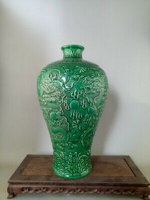 Chinese Old Marked Green Glaze Relief Dragons Pattern Porcelain Prunus Vase