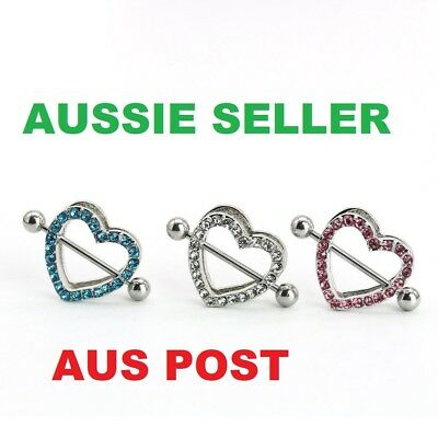 Heart Shape Nipple Shield Love Ring Steel Barbell Body Piercing Crystal Gem Bar