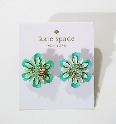 5281cf81fbad1 KATE SPADE VIBRANT Life Floral Earrings Light Green Multicolor With Dust  Bag NWT