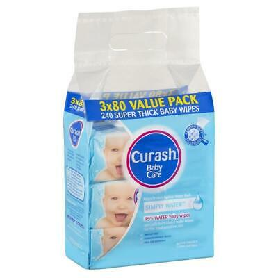 Curash Babycare Simply Water Wipes 3 x 80