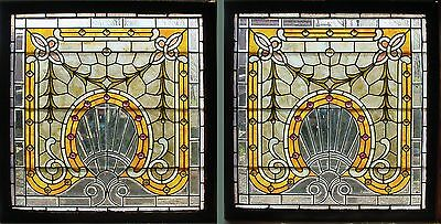 Pair of Antique American Stained/Beveled & JeweledGlass Windows