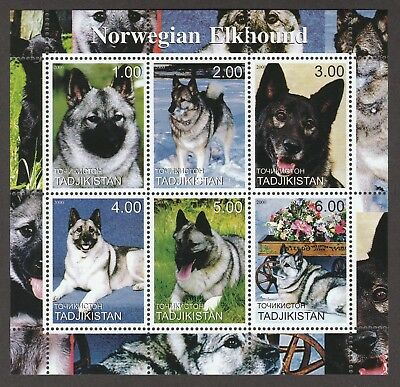 ON SALE!!  NORWEGIAN ELKHOUND ** Int'l Postage Stamp Sheet ** Unique Gift*