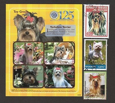 ON SALE!! YORKSHIRE TERRIER ** Int'l Dog Stamp Collection **Great Gift**