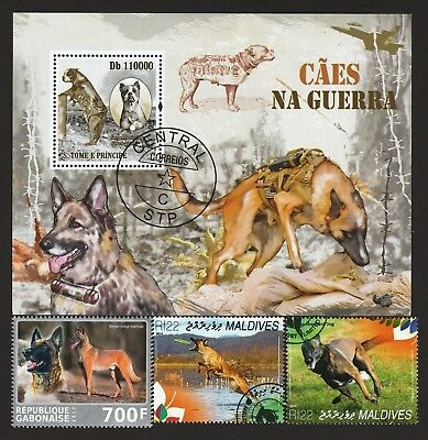 BELGIAN MALINOIS ** Int'l Dog Postage Stamp Collection ** Unique Gift*