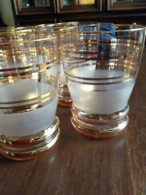 Six Vintage 1950s Gilded Frosted Glasses Pink