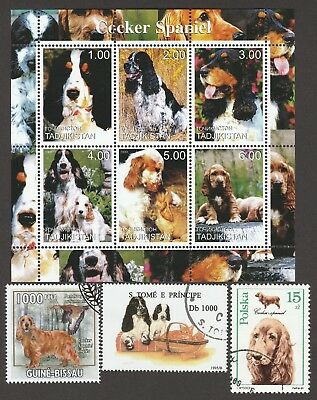 ON SALE!!  ENGLISH COCKER SPANIEL**Int'l Postage Stamp Sheet**Great Gift Idea**