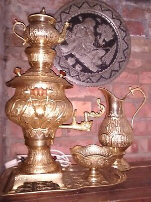 Gold Colour Brass Vintage Persian Samovar - 5 Pieces - Never Used
