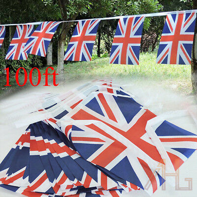 100Ft Union Jack Fabric Flag 2018 World Cup Football Bunting Party Street Decor