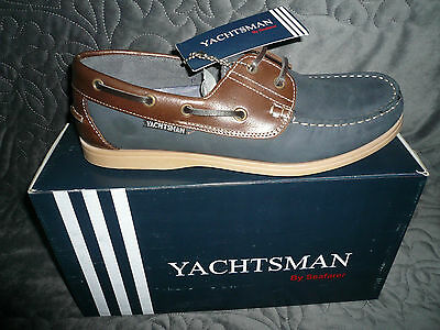 Mens Deck Boat Shoes Leather Nubuck Navy/ Brown   by Yachtsman  New Sizes 7-12