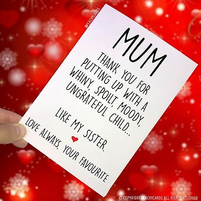 Funny Mother's Day Card Funny Card For Mum Novelty Favourite Child Banter PC138