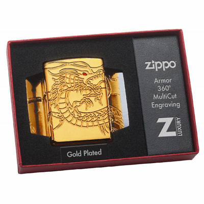 Zippo Lighter Gold plated Chinese Dragon 29265 COLLECTABLE Giftboxed Brand New