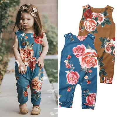 Newborn Baby Girl Flower Romper Jumpsuit Harem Playsuit Outfits Clothes UK Stock