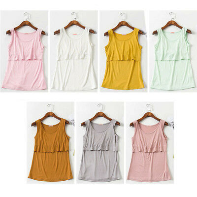 Women Pregnant Breastfeeding Vest Nursing Feeding Tank Tops Summer Thin Shirt US