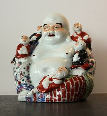 Ancien Bouddha Rieur Chinois  porcelaine signé Antique Chinese Laughing Buddha