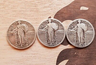 3x lot 1926s 1926p 1929p  Silver Standing liberty quarter dollar