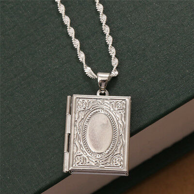 Women 925 Silver Photo Frame Floating Locket Book Pendant Chain Necklace Jewelry