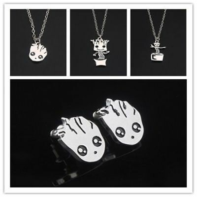 Baby Groot Guardians of the Galaxy Silver Plated Necklace Pendant Earrings