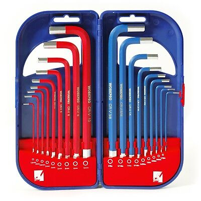 18Pc Driver Tool Set With Long Arm Hex Key Sae Metric Allen L Wrench NEW