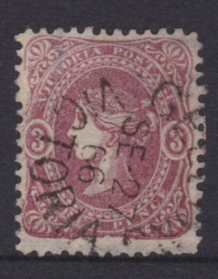 VICTORIA RARE 1866 3d Maroon BEADED OVAL ,SG 91, FINE USED (DF147.24)