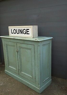 Original Antique Painted Victorian Cupboard/Cabinet Authentic French green/grey