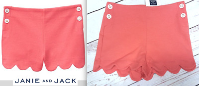 Janie and Jack SCALLOPED SHORT COLOR Coral Side Buttons New with tags.