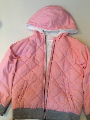 Girls COUNTRY RD coral pink puffer hood hooded winter snow warm coat 8 9 10