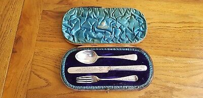 Antique Victorian London  Sterling Silver Children cutlery set London GMJ 1890