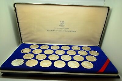 1985 Treasure Coins Of The Caribbean Sterling Silver 25 Coin Set - Franklin Mint