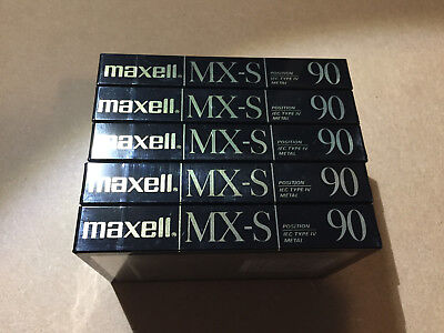 Set of 5 New Sealed Maxell MX-S 90 Metal Cassettes Tapes Type IV Made In Japan