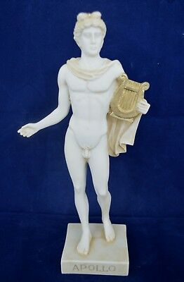 Apollo statue ancient Greek God of sun and poetry sculpture aged