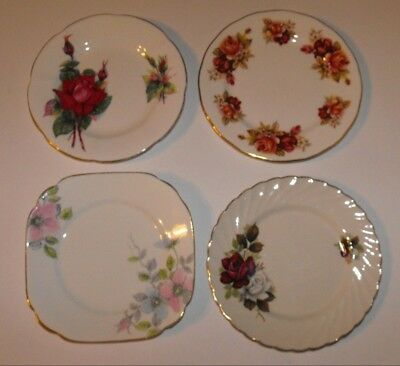 Lot x 4 Vintage English Bone China Side Plates * Roslyn Old Foley Queen Anne +