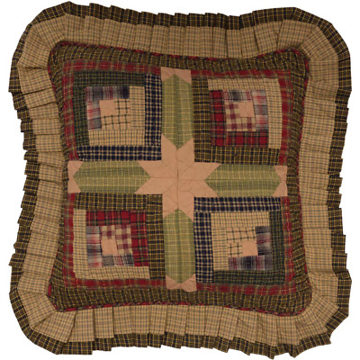 """New Primitive Country Red Green Tan TEA CABIN SQUARE QUILT PATCH Pillow 18"""""""