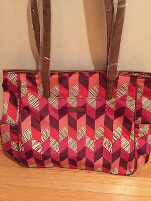Brand New Vera Bradley Preppy Poly Zip Top Tote In Bohemian Chevron- NIB