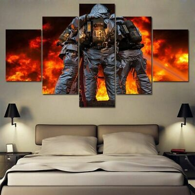 Framed Fireman Firefighters Fire Fighting Canvas Prints painting Wall Art 5PCS