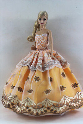 Yellow Fashion Princess Party Dress/Evening Clothes/Gown For 11.5in.Doll b06