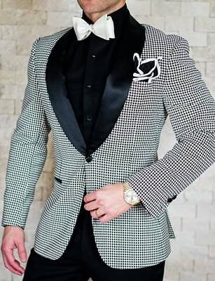 MEN\'S PLAID PAISLEY Groom Tuxedos Wedding Suit Prom Party British ...