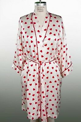 Alexa Women's 100% Genuine SILK Robe Valentines Day Hearts NEW Small S kimono