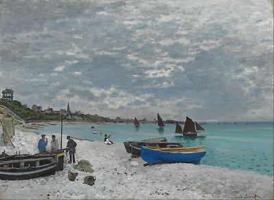 "Handmade Oil Painting repro Claude Monet The Beach at Sainte-Adresse 24""x36"""