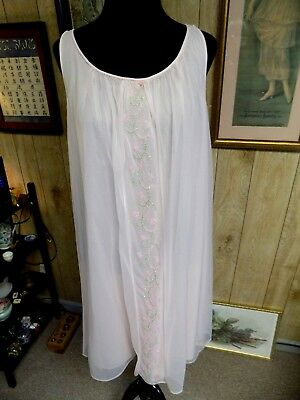 Vintage 1960's Pink Nylon Poofy Chiffon Baby Doll Style Sears Nightgown  36