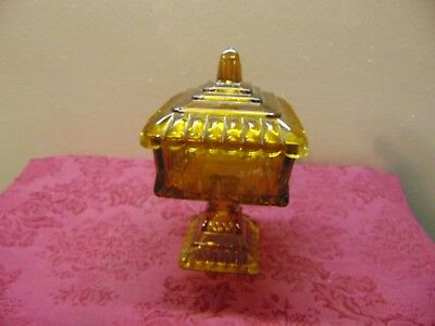 Vintage Amber Glass Pedestal Covered Candy Dish RETRO