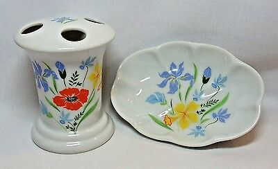 Vtg Bavarian Primavera SOAP DISH & TOOTHBRUSH HOLDER Porcelain With Wildflowers