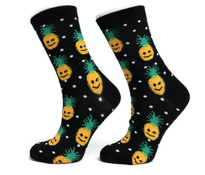 Ladies Womens Cotton Pineapple Design Funky Socks Everyday Use 4-7 UK