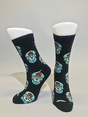 Ladies Womens Cotton Mexican Skull Design Funky Socks Everyday Use 4-7 UK Black
